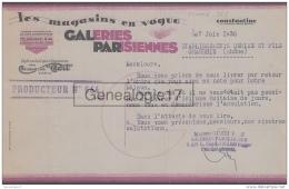 96 1703 ALGERIE CONSTANTINE 1938 GALERIES PARISIENNES Des Ets GUEDJ FILS  A DEBIZE - Unclassified