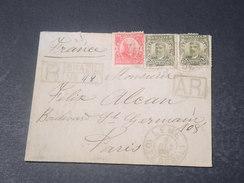 BRÉSIL - Enveloppe En Recommandé AR De Leme Pour Paris En 1908 - L 11350 - Cartas