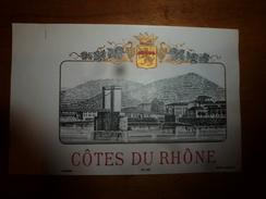 1920 ? Spécimen étiquette De Vin  CÔTES Du RHÔNE ,   N° 987, Déposé,  Imprimerie G.Jouneau  3 Rue Papin à Paris - Ponti