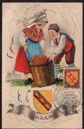 FOIRE DE METZ - LORRAINE / 1951 OBLITERATION SUR CARTE POSTALE A SYSTEME (ref LE1929) - Alsace-Lorraine