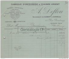 75 15 901 PARIS SEINE 1912 Fabrique Orfevrerie Chaines D Argent A DEFLOU Succ GABERT - CONREAU Rue Beaubourg A BONTEMPS - France