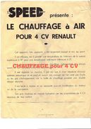 RENAULT 4 CV- SPEED CHAUFFAGE À AIR POUR 4 CV - Cars