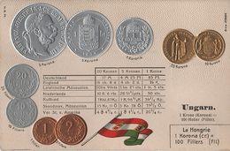 Litho Münzkarte AK Ungarn Hungary Hongrie Filler Heller Korona Krone K. U K. Kaiser Ferencz Jozsef Nationalflagge - Ungarn