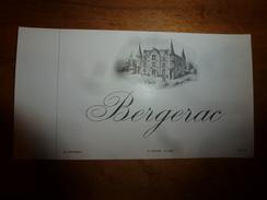 1920 ? Spécimen étiquette De Vin BERGERAC , N° 2438,  Déposé,  Imprimerie G.Jouneau  3 Rue Papin à Paris - Castles