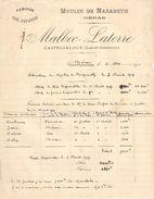 Facture Ancienne/Boulangerie/Farines/Moulin De Nazareth/Nérac/Malbec-Laterre/CASTELJALOUX/Lot & Garonne/1917   FACT280 - Agriculture