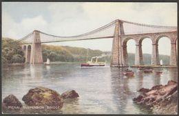 Menai Suspension Bridge, Anglesey, 1934 - Valentine's Postcard - Anglesey