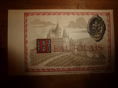 1920 ? Spécimen étiquette De Vin BEAUJOLAIS ,   N° 58H,  Déposé,  Imprimerie G.Jouneau  3 Rue Papin à Paris - Castles