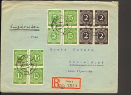 Alli.Bes.4x2,2x5 U.6x15 Pfg.Ziffer Auf  Einschreibebrief Aus Celle Von 1946,  Ankunftstempel - Gemeinschaftsausgaben