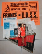 Test Match (fanion,affiche,programme,photo,presse) . Tennis De Table . Ping-Pong . FRANCE URSS Du 7.09.1974 - Tischtennis
