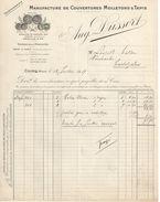 Facture Commerciale Ancienne/Manufacture De Couvertures Molletons & Tapis/Aug DUSSERT/Cours/Rhône /1917   FACT282 - Textile & Vestimentaire