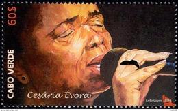 Cape Verde - 2016 - Cesaria Evora In Bataclan Concert Hall In Paris - Mint Stamp With Golden Hot Foil Intaglio - Cape Verde