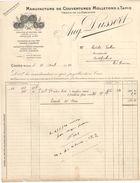 Facture Commerciale Ancienne/Manufacture De Couvertures Molletons & Tapis/Aug DUSSERT/Cours/Rhône /1917   FACT283 - Textile & Vestimentaire