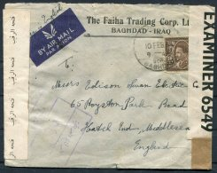 1941 Iraq Faiha Trading Corp Censor Airmail Cover - Hatch End, Middlesex, England - Iraq