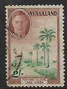 Nyasaland , GVIR, 1945, 2/=, Used, Toned - Nyasaland (1907-1953)