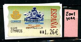 SPAGNA - Year 2001 - AUTOMAT STAMP - Usato - Used - Utilisè - Gebraucht. - 1931-Oggi: 2. Rep. - ... Juan Carlos I