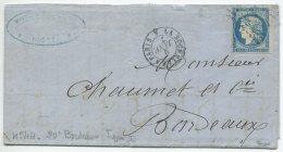 N°44 Report 1 + Cachet Ambulant De Nuit  La Rochelle à Paris A / Lettre  De Niort (deux Sèvres) Pour Bordeaux (1100 Eur) - 1870 Uitgave Van Bordeaux