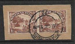 S.Africa 1936, 4d Brown, Splitting Pair On Fragment, C.d.s. Used 1950 - Zuid-Afrika (...-1961)