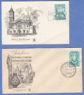 ARGENTINIEN - 2 FDC Briefe (1953+1957) 40 + 50 C Sondermarke + Sonderstempel - FDC
