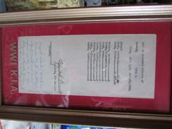 WW1 US List Of Personl Effects ON KIA Certifictae - 1914-18