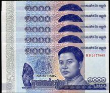 CAMBODIA 1000 Riels 2016 UNC New 5 Pieces - Cambodia