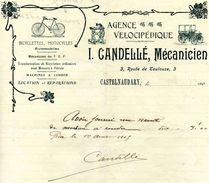 Agence Vélocipédique. CANDELLE, Mécanicien, CASTELNAUDARY, Route De Toulouse N°3, 1905 - Frankreich