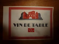 1920 ? Spécimen étiquette De Vin VIN De TABLE, N° 91H  Déposé,  Imprimerie G.Jouneau  3 Rue Papin à Paris - Castles