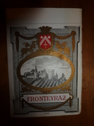 1920 ? Spécimen étiquette De Vin FRONTEYRAZ, N° 500 ,  Déposé,  Imprimerie G.Jouneau  3 Rue Papin à Paris - Castles