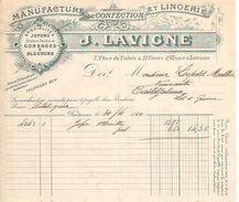2 Facture Commerciales Anciennes/Manufacture De Confection Et Lingerie/J LAVIGNE/ Bordeaux/Place Du Palais/1910  FACT288 - Textile & Vestimentaire