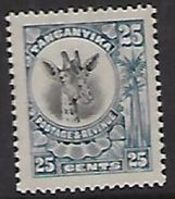 Tanganyika, 1922 Colour Change, 25c Black & Blue, MH* - Tanganyika (...-1932)