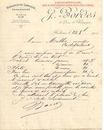 Lettre Commerciale Ancienne/J BORDES/ Quai De Bourgogne/ BORDEAUX/Malbec/Casteljaloux/1910            FACT290 - Bank & Insurance