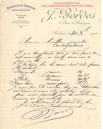Lettre Commerciale Ancienne/J BORDES/ Quai De Bourgogne/ BORDEAUX/Malbec/Casteljaloux/1910            FACT291 - Banque & Assurance