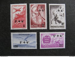 Monaco:  TB Série PA N° 8 Au N° 12 . Neufs XX. - Posta Aerea