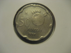 50 Pesetas 1990 Sevilla EXPO 92 Colon America SPAIN Juan Carlos I Coin - 50 Pesetas