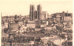 Bruxelles - Brussel - CPA - Eglise Sainte-Gudule Et Panorama - Panoramische Zichten, Meerdere Zichten