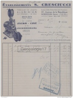 92 1733 MONTROUGE SEINE 1935 Fabrique De Jouets Aluminium S. CRESCIUCCI Cinema JACKO CINE Projecteur  Avenue Republqiue - Projecteurs
