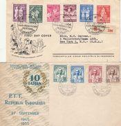 LOTTO 2 FDC VIAGGIATI INDONESIA 1954-55 (SU UNO TIMBRO NEW YORK SUL RETRO) (RL496 - Indonesia