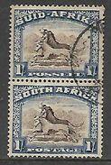 S.Africa, 1939, 1/= Vertical Pair, Used - Zuid-Afrika (...-1961)