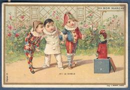 Chromo Au Bon Marché Jeu Jouet Diable En Boîte Litho Minot Déguisement Pierrot Arlequin Polichinelle Peur Surprise Ah Le - Unclassified