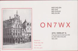 QSL Card Amateur Radio Station CB Mechelen Belgie Stadhuis 1986 - Radio Amatoriale