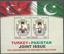 "Pakistan 2017 M/S MNH Joint Issue ""Turkey & Pakistan 70th Anniv. Of Diplomatic Relations"" - Pakistan"