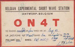 Very Old QSL Card Amateur Radio Station CB 1946 Belgian Expermental Short Wave Station Antwerpen Antwerp - Radio Amatoriale
