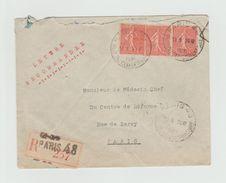 PNEUMATIQUE  ????  Recommandé 1930 - PARIS 48 RUE DU CONSERVATOIRE Sur Semeuses Lignées 50c X3 - Cachets Manuels