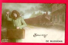 CPA (Réf : B 737) Souvenir DE MUSSIDAN  (24 DORDOGNE) La Gare Et Le Train à Vapeur - Mussidan