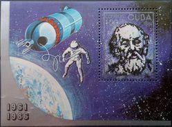 Cuba, 1986, Sc. 2857, Mi. Bl. 94, The 25th Anniv. Of The First Man In Space, MNH - Space