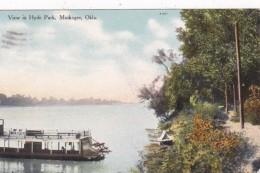 Oklahoma Muskogee View In Hyde Park 1909 Curteich - Muskogee