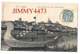 CPA - Fête Vénitienne De 1906 - Une Gondole, Bien Animée - JOIGNY 89 Yonne - N° 418  Imp. H. Hamelin - Scans Recto-Verso - Joigny