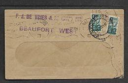 S.Africa, WIndow Envelope, 1/2d, CAPETOWN  10.6.46 > BEAUFORT WEST Then, 1/2d, BEAUFORT WEST   31 JAN 46 > ?? - South Africa (...-1961)