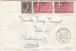 LUXEMBOURG 1947 - 3 Fach Frankierung Auf Brief Mit Inhalt, Gel.v.Wolfingen (Stempel Troisvierges) Nach Wien XVI - Luxemburg