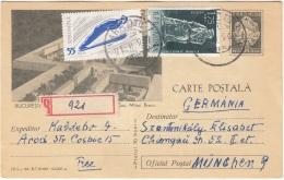 RUMÄNIEN 196? - 30 Bani Ganzsache + 55 B +1,75 Lei Zusatzfr. Auf Bildpostkarte Gel.als RECO V.Arad N.München - Ganzsachen