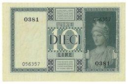 REGNO D'ITALIA - 10 LIRE IMPERO - DECRETO 1938 XVII - FIOR DI STAMPA - GRASSI,COLLARI,PORENA - 0381 - 056357 - [ 1] …-1946 : Kingdom